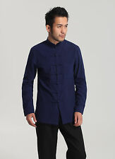 Tradtional  Chinese Men's Kung Fu Shirt Tops 100% Cotton Leisure Coat Blue