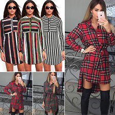 New Ladies Womens Collared Front Button Party Mini Dress Jumper Shirt Top Blouse