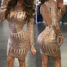 Womens Fashion Sequined Sexy Backless Hip Evening Party Cocktail Mini Dress S-XL
