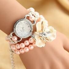 Sweet Girls Pearl Chain Crystal Bracelet Bangle Wrist Quartz Watch Gift Jewelry
