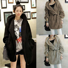 Hot Womens Autumn Winter Loose Cloak Hoodies Thick Woolen Coat Jacket Hooded New