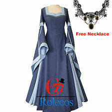 Women Medieval Renaissance Blue Wedding Dress Costume Cosplay Gown Lace Necklace