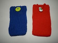 Hand Knitted bespoke i-phone mobile phone sock pouch cover case feature button