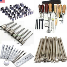 Pro DIY Leather Craft Hand Sewing Stamps Working Tool Set Kit Hole Punch Awl Lot
