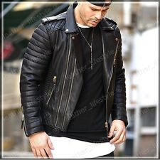 New Style Lambskin Black Leather Bomber Jacket Biker Motorcycle Jackets For Men