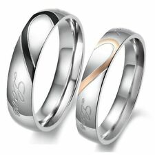 Fashion Heart-shaped Titanium Steel Promise Ring Couple Wedding Bands Lover Gift