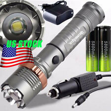 Zoomable CREE XML T6 4000LM LED Zoomable Flashlight 18650 Battery Charger Set
