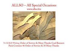 Quality ORDER OF SERVICE & THANK YOU Banners, Labels & Toppers - Silver & Gold
