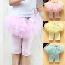 Cute Kids Baby Girls Culottes Leggings Tulle Pants Holiday Skirts Bow Tutu Dress