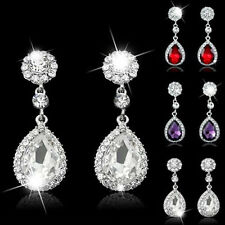 Wedding Bridal Clear Crystal Silver Tone Dangle Ear Stud Teardrop Earrings Gift