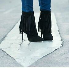NEW ZARA BLACK SUEDE LEATHER FRINGED BOOTIE HIGH HEEL ANKLE BOOTS REF. 6136/001