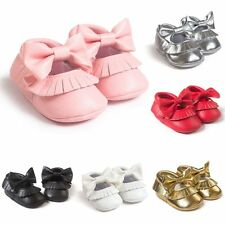 Newborn Baby Soft Sole Leather Crib Shoes Toddler Kids Moccasin Prewalker 0-18M