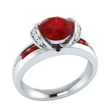 1.10 ct Red Ruby & White Sapphire Solid Gold Wedding Engagement Ring