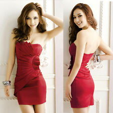 Sexy Strapless Backless Women's Cocktail Prom Party Mini Tube Dress Red US Local