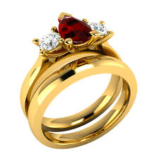 0.90 ct Ruby & White Sapphire Solid Gold Wedding Engagement Bridal Ring Set