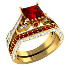 2.00 ct Ruby & White Sapphire Solid Gold Wedding Engagement Bridal Ring Set
