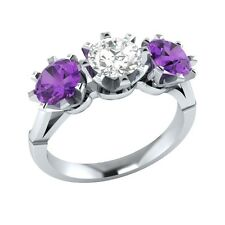 2.10 ct Purple Amethyst & White Sapphire Solid Gold Wedding Engagement Ring