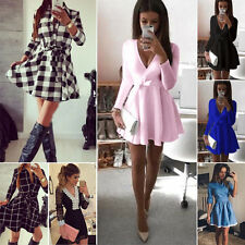 New Womens Ladies Casual Long Sleeve Skirt Dress Evening Party Mini Skater Dress
