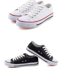 Mens Classic Canvas Casual Shoes Sneakers Plimsolls Sports Flat Lace up Trainers