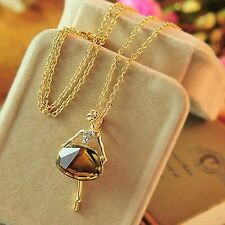 Ladies Women Crystal Ballet Girl Long Chain Gold Plated Pendant Necklace