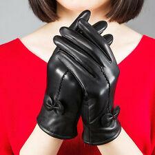 Women's Gloves Winter Warm Genuine Lambskin Leather Driving Soft Lining Black