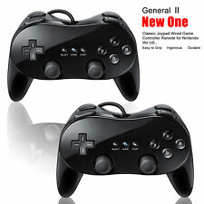 2 X Pro Classic Joypad Wired Game Controller Remote for Nintendo Wii US Black/Wh