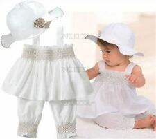 3Pcs White Hat+Top+Pants Baby Girl Ruffle Outfit Newborn Kids Z