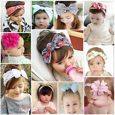 Baby Girls Lace Flower Rabbit Bow Headband Hairband Headwrap Infant Turban Knot