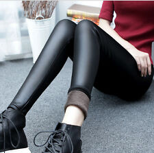 Sexy Womens Winter Fleece Leather Leggings Skinny Stretchy Pants Footless New