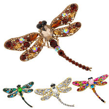 Women's Dragonfly Crystal Brooch Lovely Rhinestone Scarf Pin Jewelry Gracious