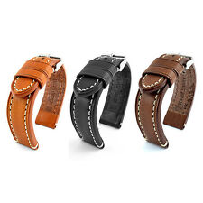 18, 20, 22, 0 7/8in real leather WATCH BAND Quality Catalonia Black Brown STRAP