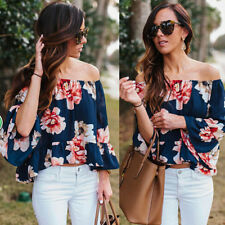 Sexy Womens Boho Off Shoulder Long Sleeve Plus Size T Shirt Casual Tops Blouse