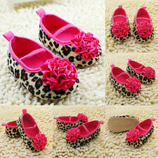 Newborn Kids Girl Soft Soled Crib Shoes Floral Leopard Toddler Baby Shoes 0-18 M