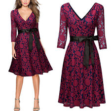 Women Vintage Retro 1950s Evening Cocktail Party Floral Lace Swing Pleated Dress