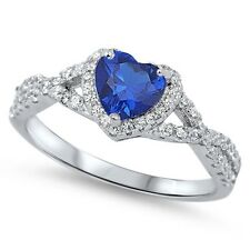 Sterling Silver 925 Heart Blue Sapphire Clear CZ Halo Promise Infinity Band Ring