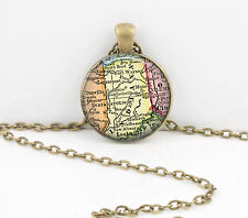 Indiana Vintage Map Pendant Necklace Jewelry or Key Ring