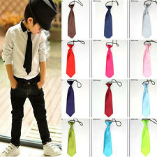 Boy Tie Kids Baby School Boy Wedding Necktie Neck Tie Elastic Solid Colour Stain