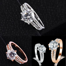 1Pcs Wedding Gold Plated Jewelry Rings Plated Silver Women Rhinestone Size 6~9