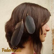 Black Crow Feather Hair Extension Clip, natural jewelry handmade raven