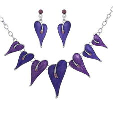 Fashion Enamel with Rhinestones Leaves Shape Necklaces and Earring Jewelry Sets