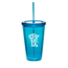 16oz Double Wall Acrylic Tumbler Pool Beach Cup With Straw Tribal Elephant