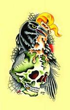 Crow and Smoking Skull Candle by Sid Stankovits Canvas Giclee Tattoo Art Print
