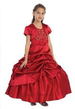 New Red Flower Girls Full Length Dress Ball Gown Party Pageant Christmas 313
