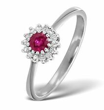 Pave 1.40 Cts Natural Diamond Ruby Cocktail Ring In Solid Stamped 14K White Gold