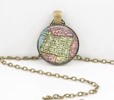 Oregon Vintage Map Pendant Necklace Jewelry or Key Ring
