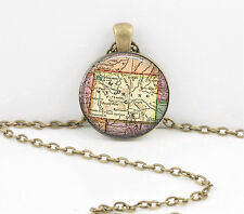Wyoming Vintage Map Pendant Necklace Jewelry or Key Ring