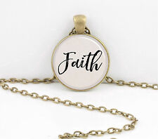 """""""Faith"""" Word Pendant Inspiration Necklace Jewelry or Key Ring"""