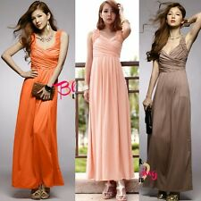 Elegant Wrapped V-neck Ruched Womens Maxi Full Length Evening Party Dress Solid