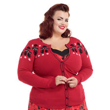Womens Voodoo Vixen Liv Cats In The Rain Plus Size Cardigan Red Rockabilly Retro