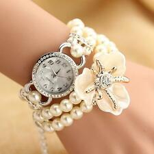 Sweet Multilayer Pearl Chain Crystal Bracelet Bangle Quartz Wristwatch Girl Gift